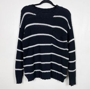 American Eagle - Oversized Striped Chunky Knit Cropped Pocket Crewneck Sweater